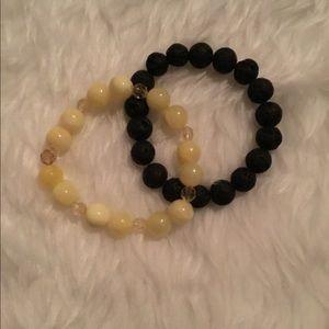 Yellow/Black beaded bracelet set